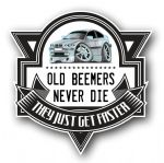 Koolart OLD BEEMERS NEVER DIE Motif For Silver BMW E46 3 Series Compact External Vinyl Car Sticker Decal Badge 100x100mm